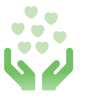 green hands with hearts